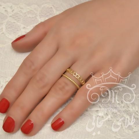 انگشتر طلای دو ردیف هندسی