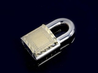 آویز قفل طلای زرد و سفید