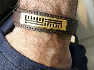 دستبند چرم طلاکوب سه بعدی با چرم دوبل