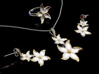 نیم ست طلای سفید طرح شکوفه