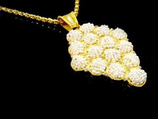 مدال گردن طلا و مروارید سایز بزرگ