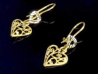 گوشواره ملیله طلا طرح قلب