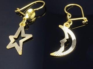 گوشواره طلای لیزری طرح ماه و ستاره