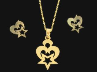 نیم ست طلا طرح قلب و ستاره