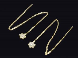 گوشواره بخیه طلا طرح ستاره
