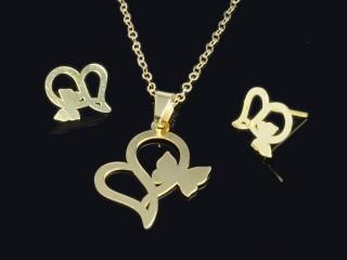 نیم ست طلا طرح قلب و پروانه
