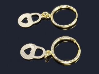گوشواره حلقه ای آویز دار طلا طرح قفل