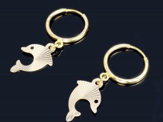 گوشواره حلقه ای طلا طرح دلفین