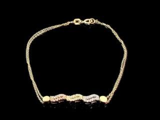 دستبند فانتزی طلای سه رنگ طرح ایتالیایی