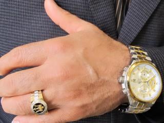 انگشتر طلای مردانه طرح رولکس