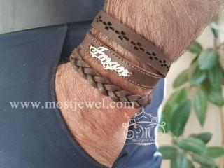 دستبند چرم و طلا اسم ایمان