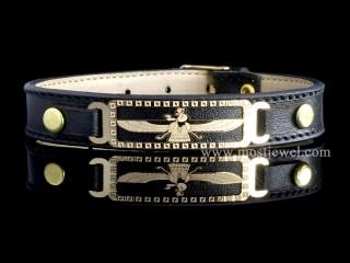 دستبند طلای فروهر با بند چرم
