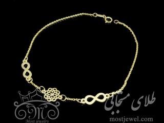دستبند طلای گل و بی نهایت