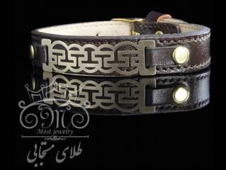 دستبند چرم و طلا ورساچی