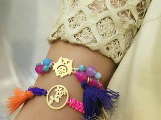 دستبندهای بافت و سنگ طرح جغد
