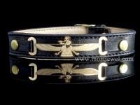 دستبند طلا و چرم  فروهر