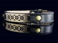 دستبند طلا و چرم طرح اسلیمی