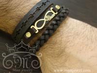 دستبند طلا و چرم اسم احسان