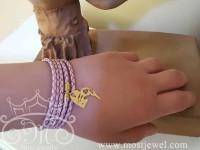 دستبند چرم و طلای پازلی مریم