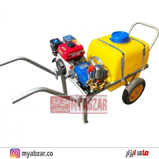سمپاش فرغونی 100 لیتری موتور هوندا چینی 6.5 اسب و پمپ 55 بار یاماها