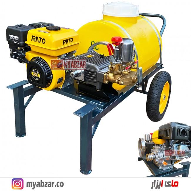 سمپاش 100 لیتری راتو با پمپ 45 بار طرح رینو (موتور گیربکس دار)