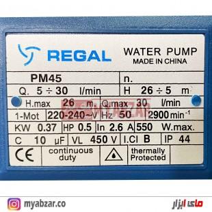 پمپ آب خانگی رگال مدل REGAL PM45