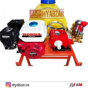 سمپاش 100 لیتری موتور هوندا GX200 اصلی با پمپ 45 بار طرح وولی