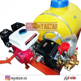 سمپاش 100 لیتری موتور هوندا GX200 اصلی با پمپ 45 بار مشکی طرح رینو پاور