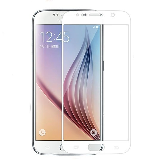 محافظ صفحه نمایش شیشه ای سفید Samsung Galaxy S6