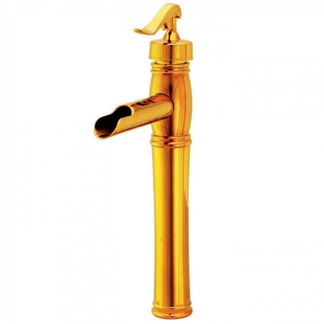 شیر روشویی پایه بلند کرومات مدل ریور طلایی
