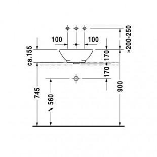 کاسه روشویی دوراویت DURAVIT مدل Bacino ساخت آلمان سایز 42×42 cm