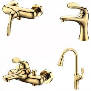 ست 4تیکه شیرالات کرومات مدل پریما طلایی