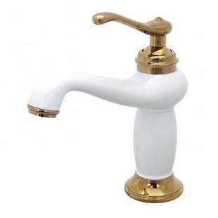 شیر روشویی کرومات مدل ماموت سفید طلایی