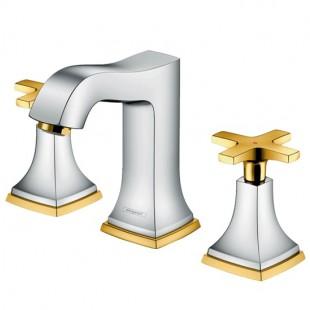 شیر روشویی سه تکه هانس گروهه مدل Metropol Classic کروم طلایی