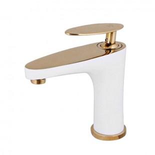 شیر روشویی کرومات مدل دراگون سفید طلا