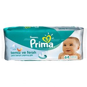 دستمال مرطوب تمیز کننده کودک 64 تایی پریما پمپرز (Pampers)