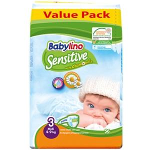پوشك56 تايي ضدحساسيت بيبي لينو سايز3 (Babylino sensitive)
