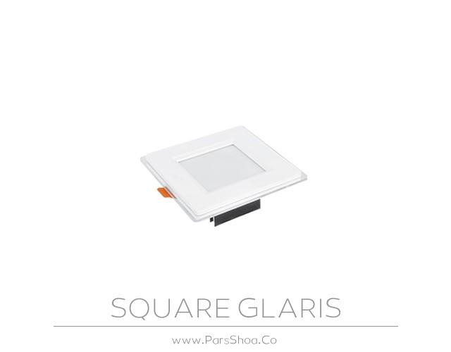 چراغ توکار گلاریس 9 وات مربعی پارس شعاع توس