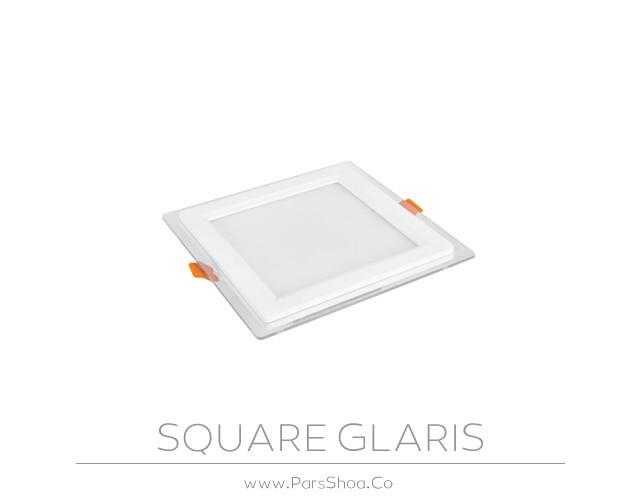 چراغ توکار گلاریس 12 وات مربعی پارس شعاع توس