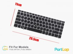 کیبورد لپ تاپ HP مدل EliteBook Folio 9480m