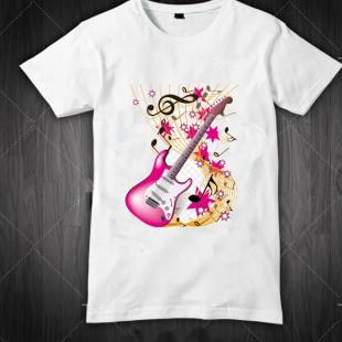 تی شرت طرح گیتار دخترانه