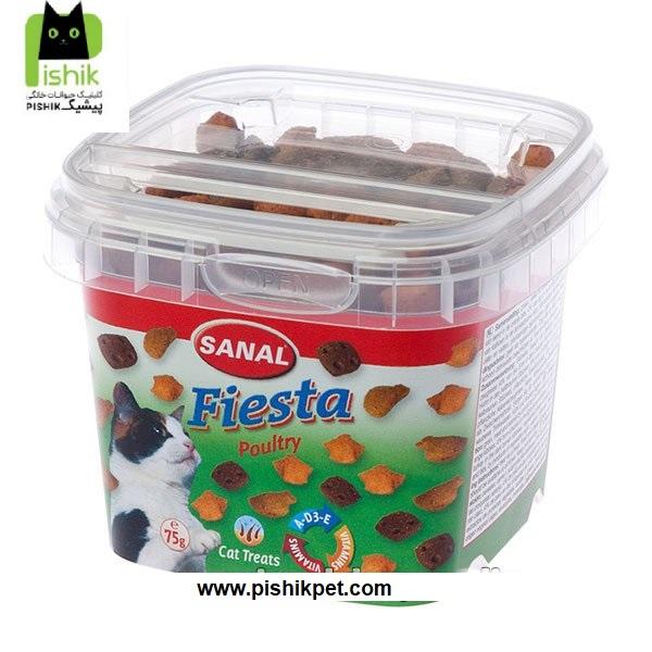 تشویقی و مکمل غذایی کاسه ای گربه سانال حاوی گوشت مرغ، بوقلمون و اردک به همراه ویتامین ها