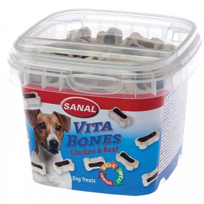 تشویقی و مکمل غذایی  کاسه ای سگ سانال طرح استخوان با طعم گوشت مرغ و گوساله وزن 100 گرمی