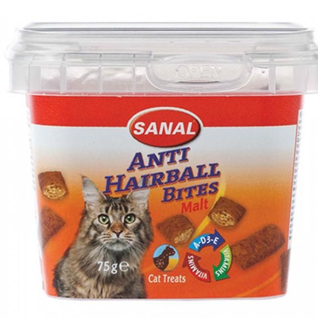 تشویقی و مکمل کاسه ای سانال گربه مدل مالت آنتی هیربال حاوی ویتامین 75 گرمی برای پیشگیری و درمان گلوله مویی