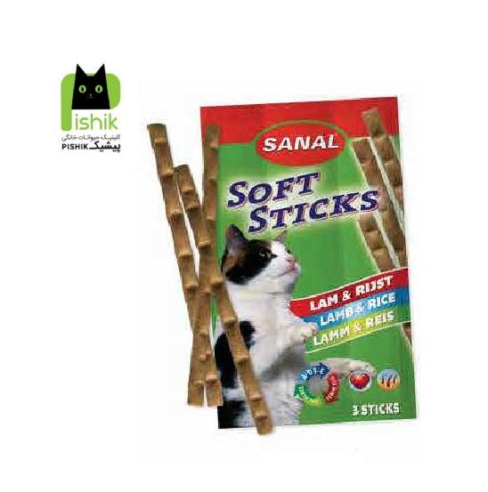 تشویقی مدادی نرم گربه حاوی گوشت بره و برنج (۳۵ گرم،۳ عددی) سانال