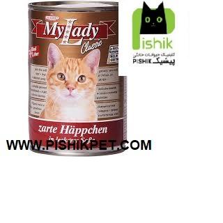 کنسرو سوپر پریمیوم گربه بالغ حاوی گوشت گوساله و جگر در سس 415 گرمی مای لیدی دکتر آلدرز