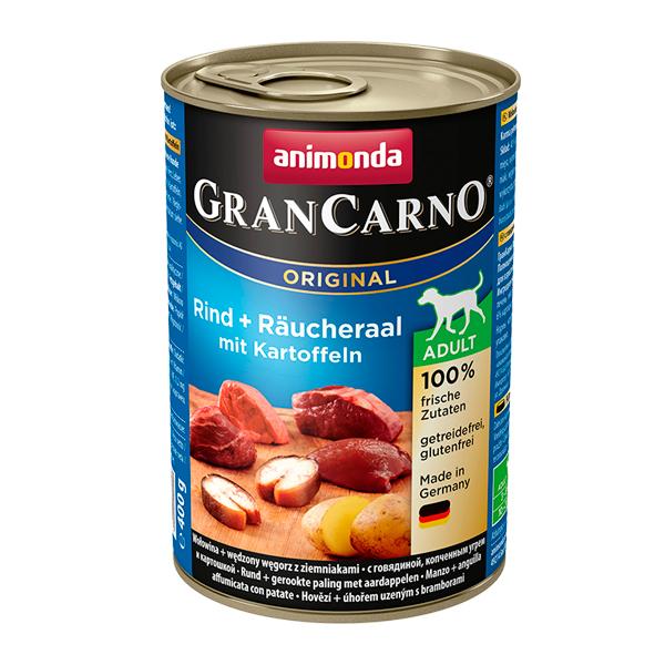 کنسرو گرن کارنو حاوی گوشت گاو، مار ماهی دودی و سیب زمینی مخصوص سگ بالغ 400gr