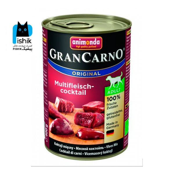 کنسرو گرن کارنو حاوی گوشت شکار، گوساله و مرغ، مخصوص سگ بالغ 400gr