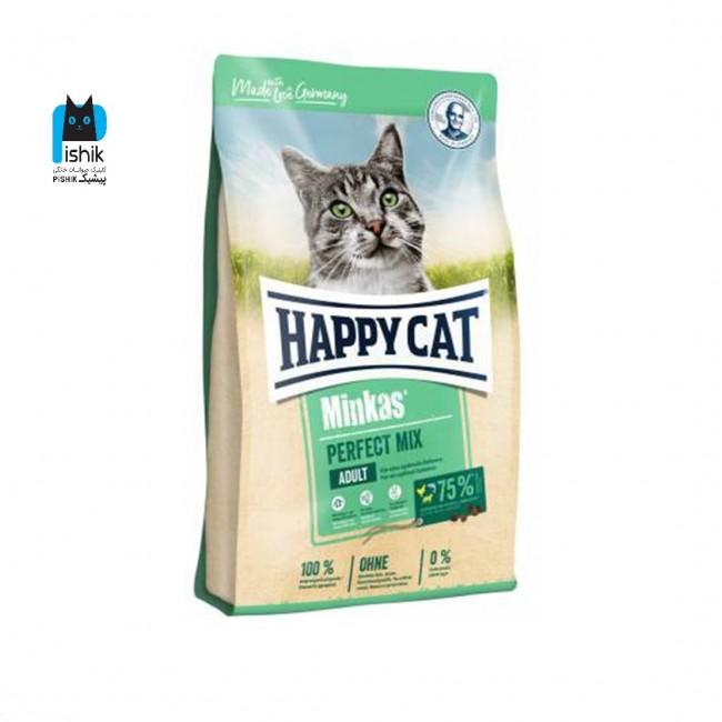 غذای گربه مینکاس مخلوط هپی کت 1 کیلوگرمی فله در بسته بندی زیپ کیپ دار