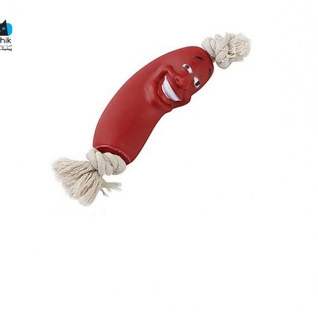 طناب اسباب بازی سگ با سوسیس پلاستیکی